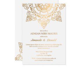 Golden decor ornaments with wedding invitation card template vector 05