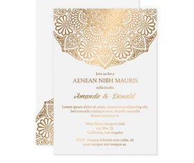Golden decor ornaments with wedding invitation card template vector 06