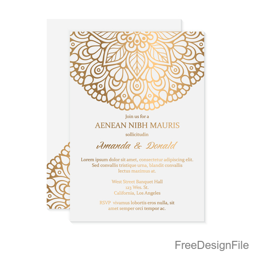 Golden Decor Ornaments With Wedding Invitation Card Template Vector 07 Free Download