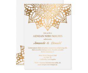 Golden decor ornaments with wedding invitation card template vector 08