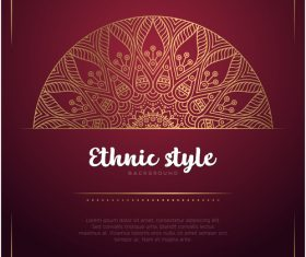 Golden decor with brown ethnic background vector 03