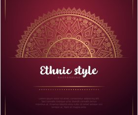 Golden decor with brown ethnic background vector 04