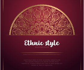 Golden decor with brown ethnic background vector 05