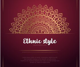 Golden decor with brown ethnic background vector 08