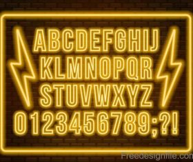 Golden neon alphabet with number vector