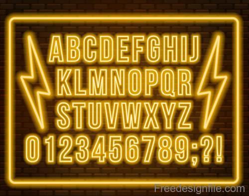 Golden neon alphabet with number vector
