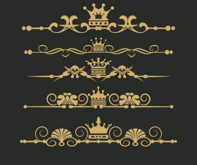 Golden ornament borders vector material
