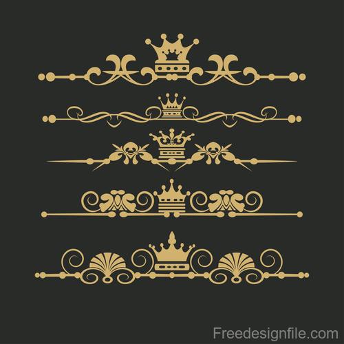 Golden ornament borders vector material
