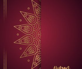 Golden ornate pattern with brown background vector 03