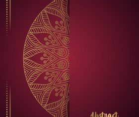 Golden ornate pattern with brown background vector 04