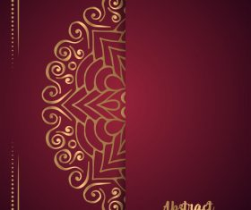 Golden ornate pattern with brown background vector 06