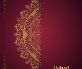 Golden ornate pattern with brown background vector 08