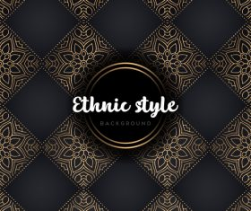 Golden with black ethnic styles background vector 01