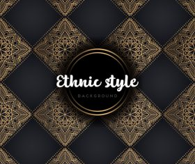Golden with black ethnic styles background vector 02