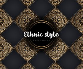 Golden with black ethnic styles background vector 03