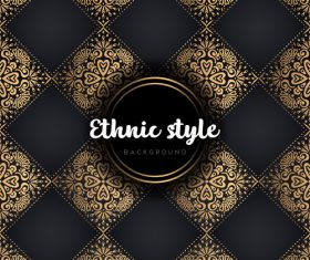 Golden with black ethnic styles background vector 04