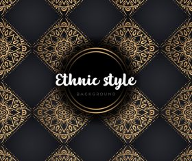 Golden with black ethnic styles background vector 05