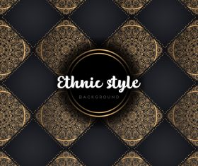 Golden with black ethnic styles background vector 06