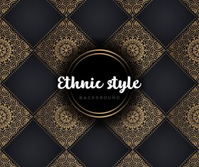 Golden with black ethnic styles background vector 07