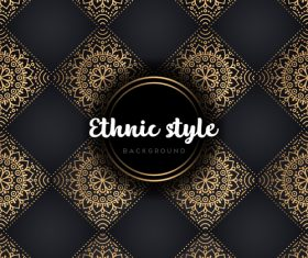 Golden with black ethnic styles background vector 08