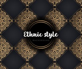 Golden with black ethnic styles background vector 09