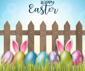 Grass with easter colored egg design vector