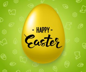 Green esaster background with yellow egg vector
