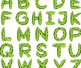 Green grass alphabet with numbers vector