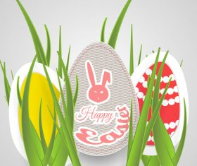 Green grass with easter egg design vector 02