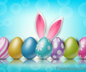 Halation background with easter design vector 03