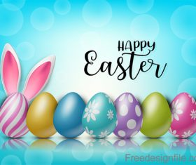 Halation background with easter design vector 04