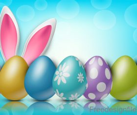 Halation background with easter design vector 05