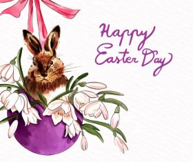 Hand drawn easter card with rabbit vector