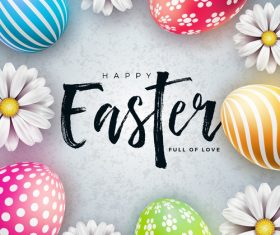 Hand drawn easter text with easter background vector