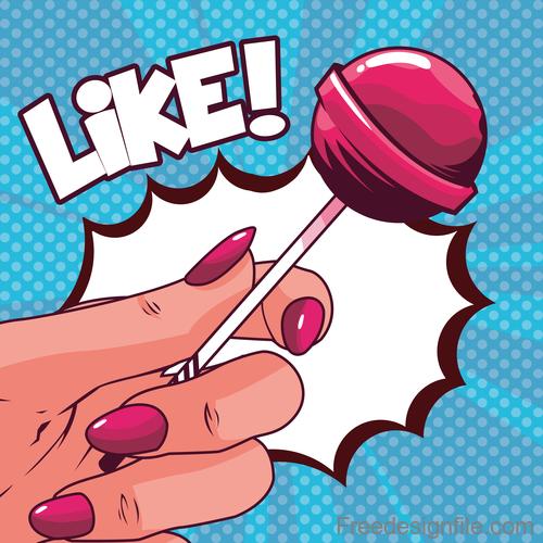 Hand with Lollipop cartoon design vector