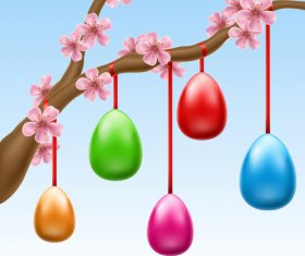 Hanged Easter Eggs On Cherry Branch vector