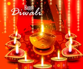 Happy Diwali festival poster with flyer template vector 03