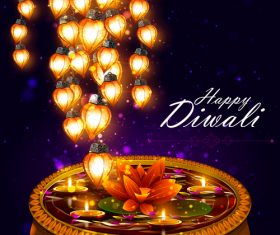 Happy Diwali festival poster with flyer template vector 04