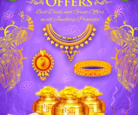 Happy Diwali festival poster with flyer template vector 05
