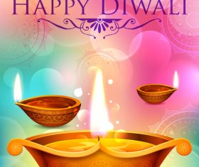 Happy Diwali festival poster with flyer template vector 06