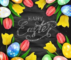Happy Easter on black chalkboard background with eggs and tulips vector