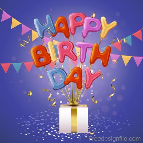 Happy birthday text balloon with gift box vector