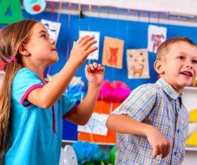 Happy children in the kindergarten Stock Photo