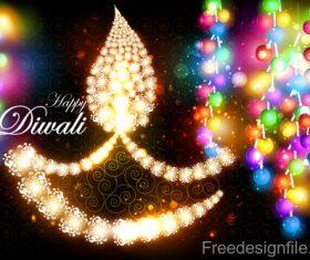 Happy diwali festival decor design vector