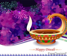 Happy diwali holiday design with fireword vector