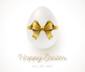 Happy easter card with white egg and golden bows vector