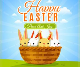 Happy easter holiday with basket and rabbit vector