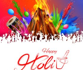 Happy holi celebration flyer template vector 01