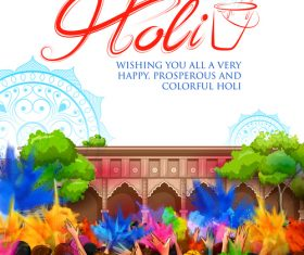 Happy holi celebration flyer template vector 02