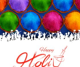 Happy holi celebration flyer template vector 04